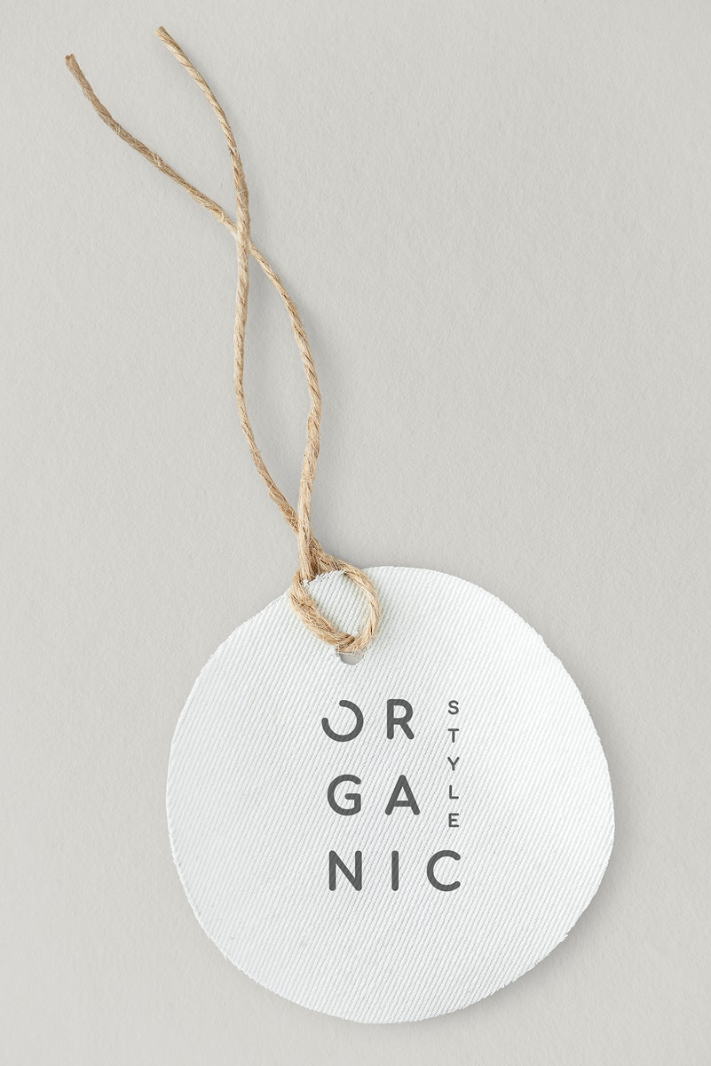 White organic style label mockup