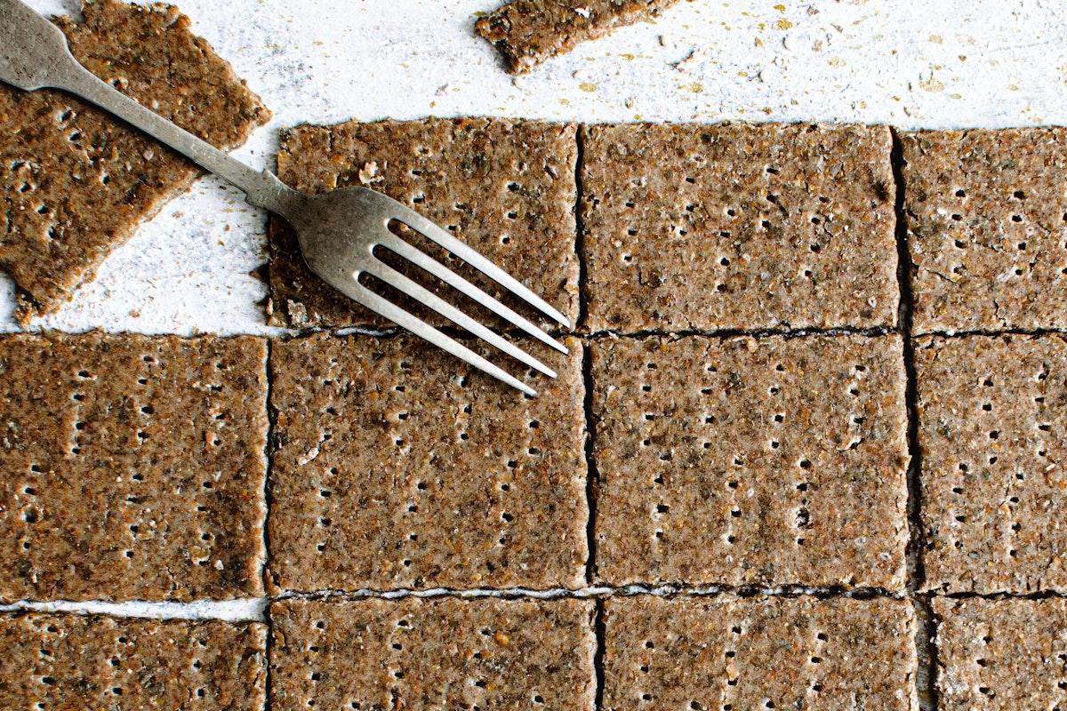 Healthy organic seeded rye crackers