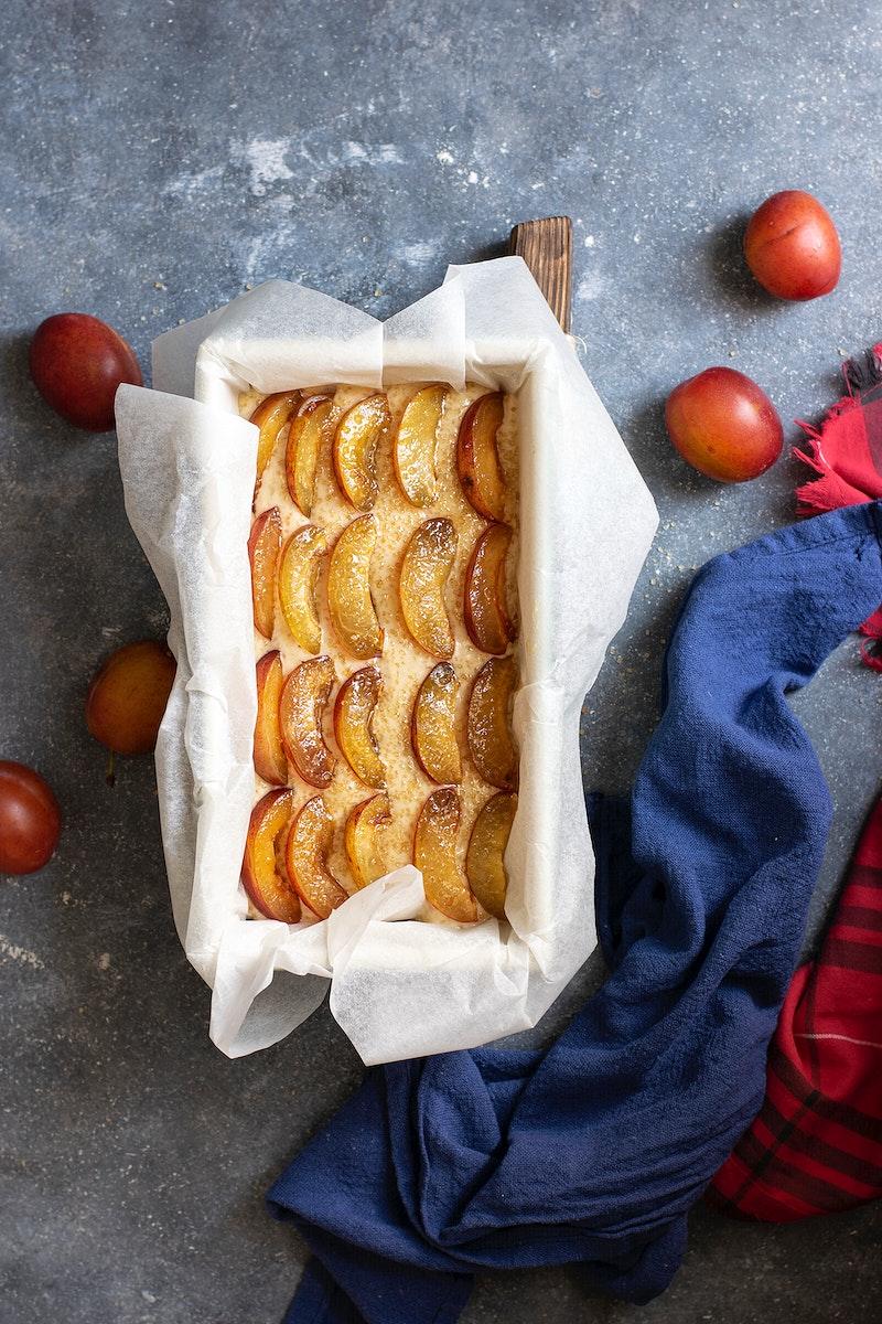 Healthy vegan rustic plum cake