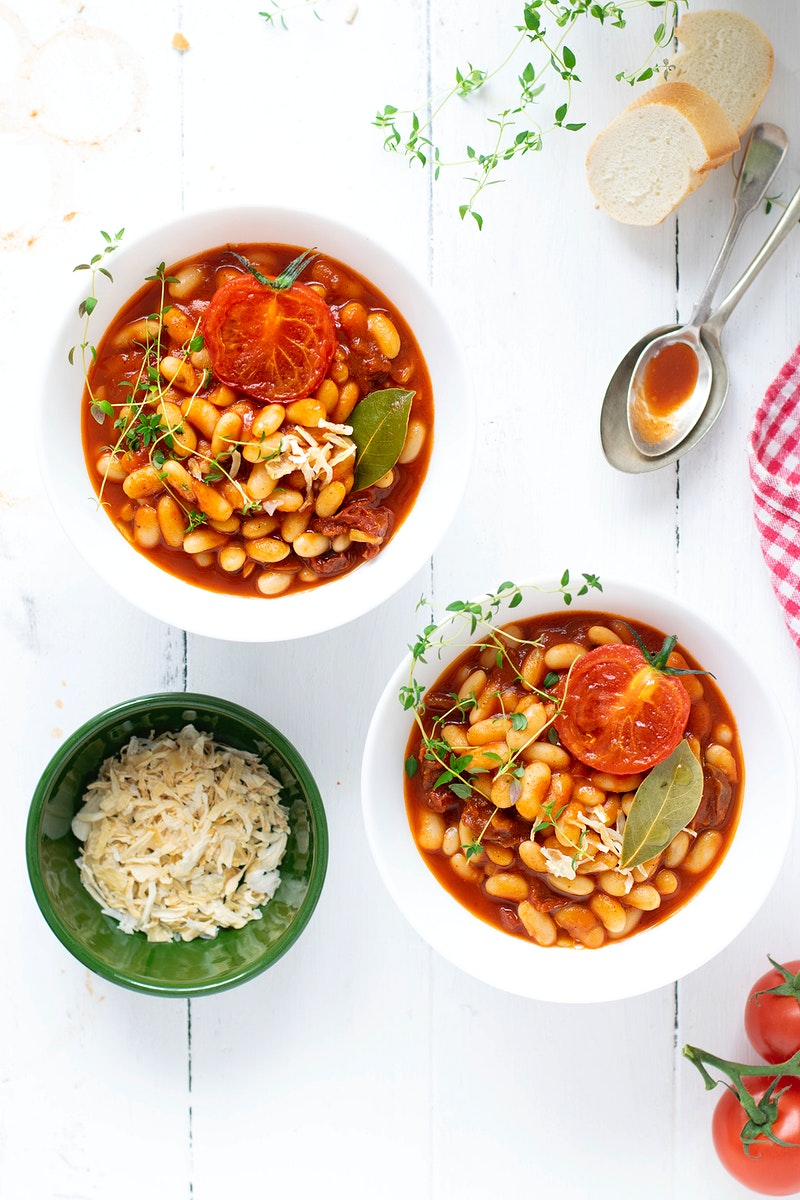 White beans cooked in homemade tomato sauce