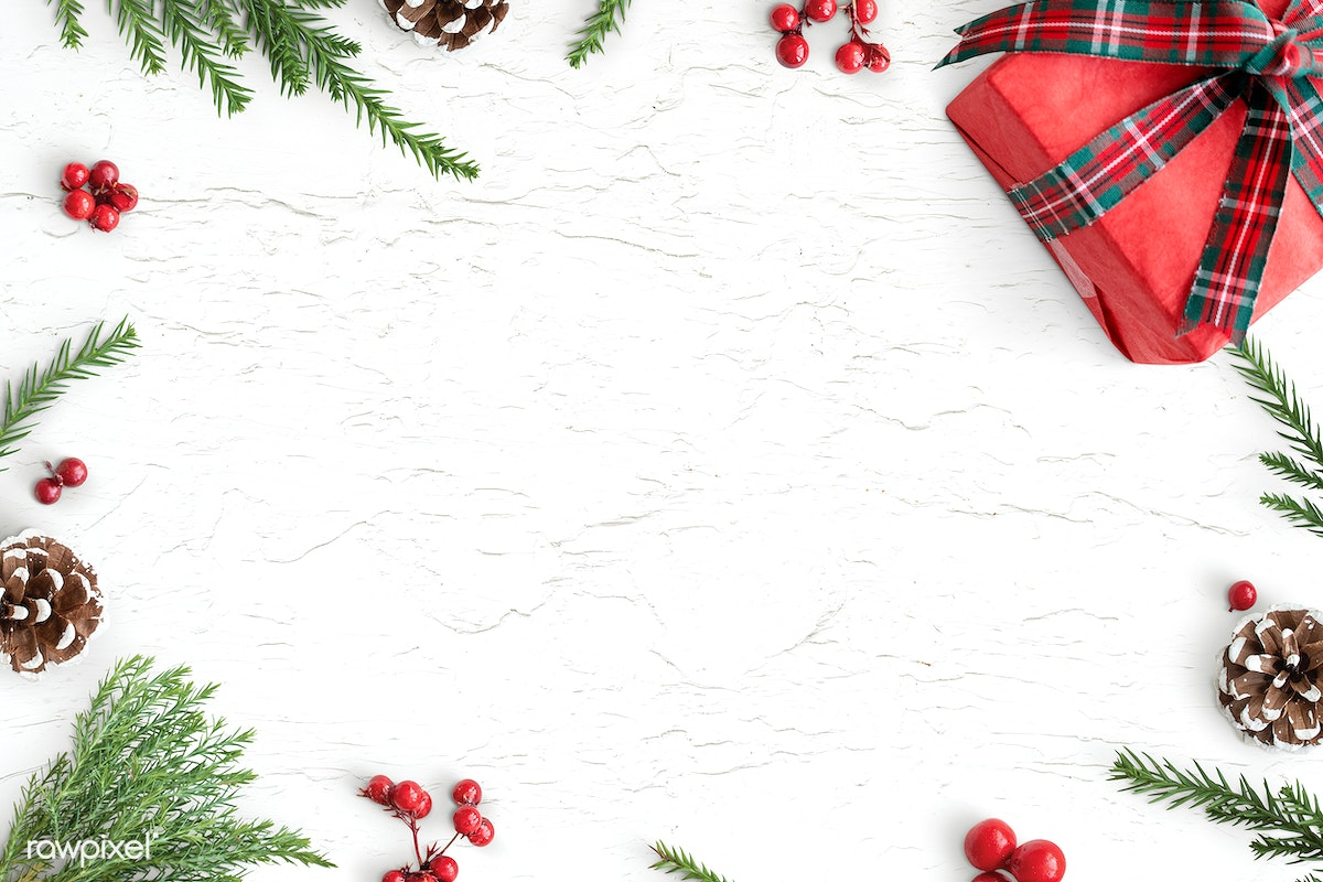 Download Premium Psd Of Christmas Decorations On Table Background Mockup