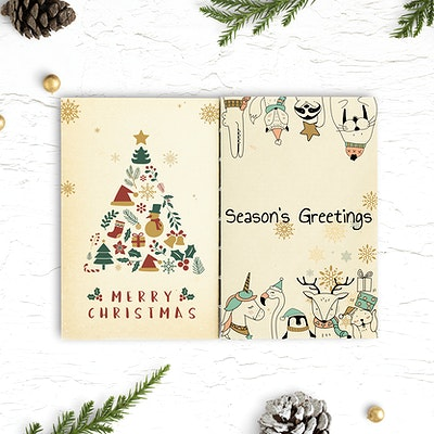 Christmas Illustrations.Download Premium Image Of Christmas Illustrations In A Notebook Mockup