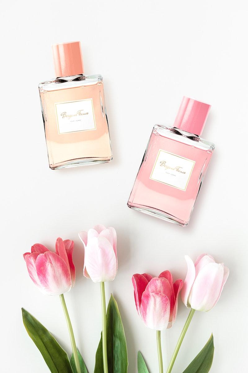 Feminine perfume bottle mockup design