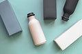 Minimal reusable water bottle mockup design