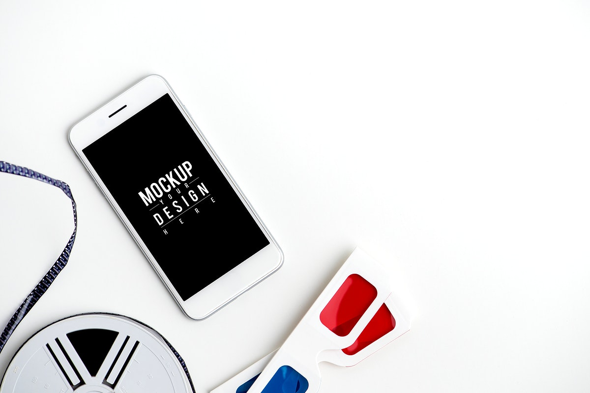 Mockup of a mobile phone with reel and 3d glasses