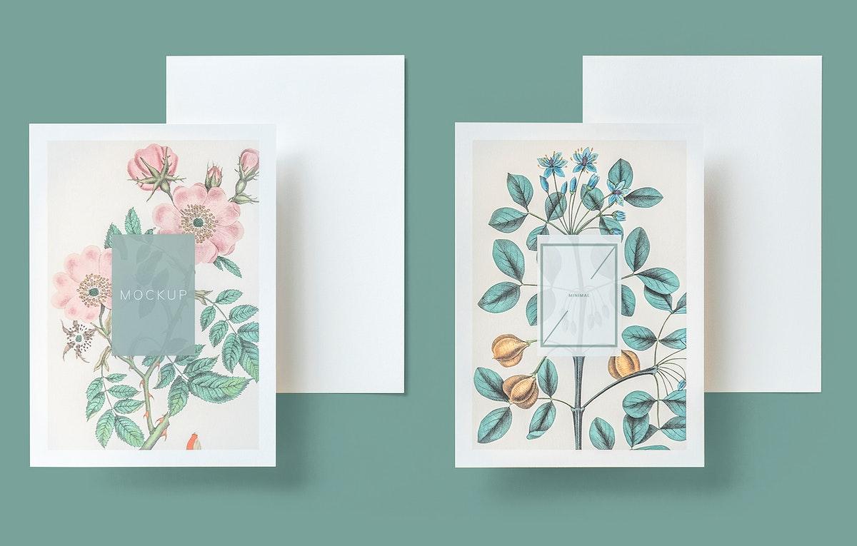 Floral wedding invitation card mockup