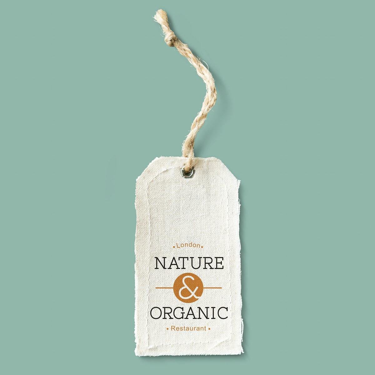Natural cotton cloth label mockup