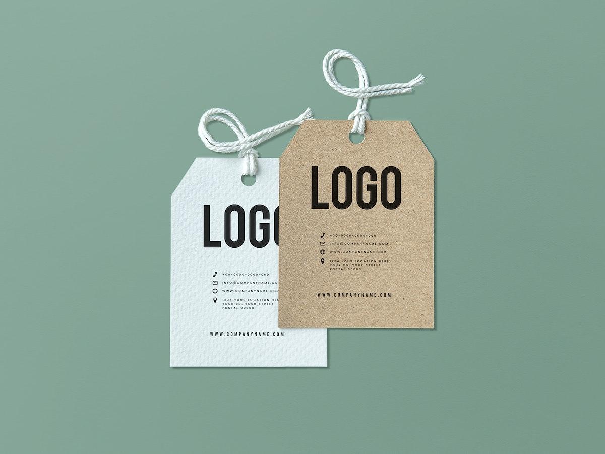 Pair of fashion label tag mockups