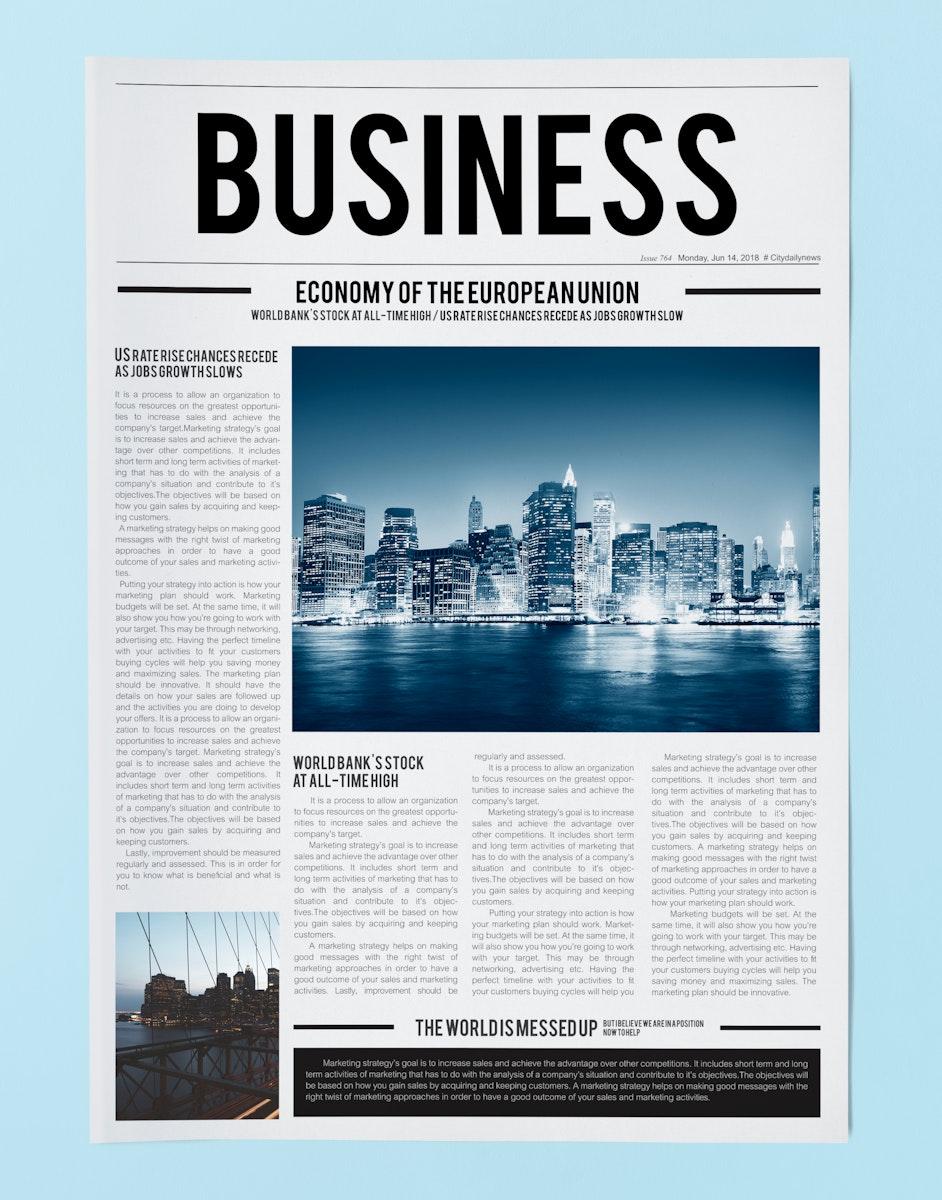 Latest business news newspaper mockup