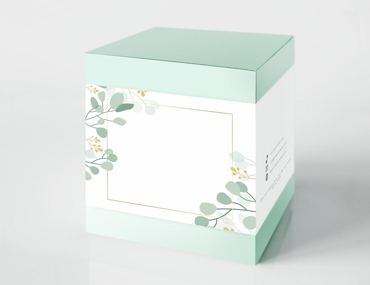 Mint green packaging box mockup