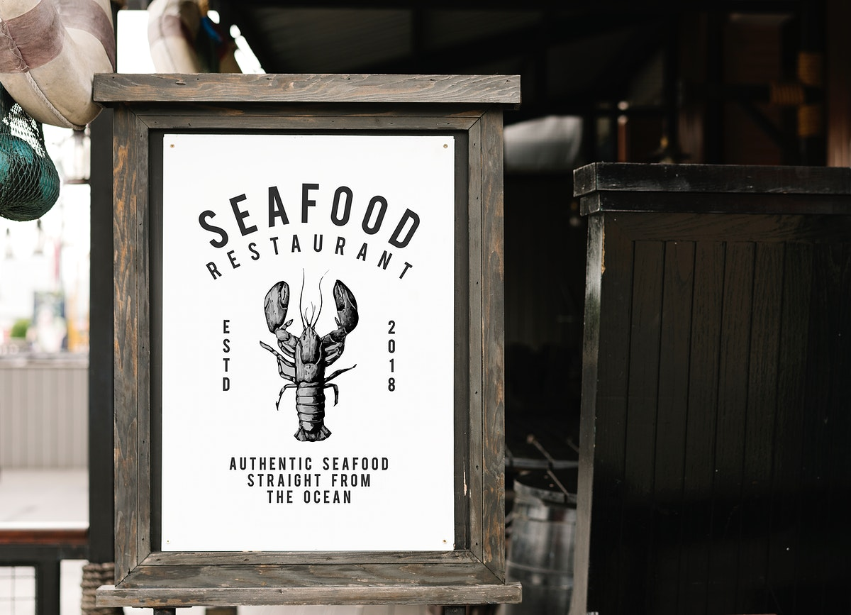 Rustic style sign mockup at a seafood restaurant
