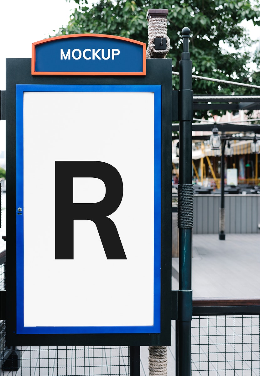 Signboard mockup with bold blue and orange colors
