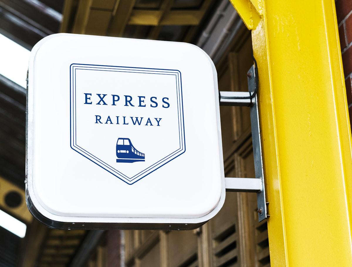 Express railway station signage mockup