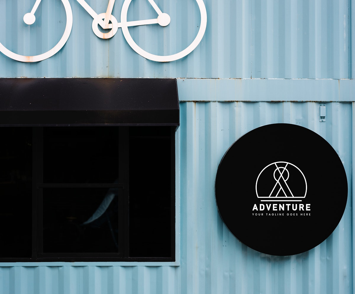 Shop front mockup with a decorative bicycle motif