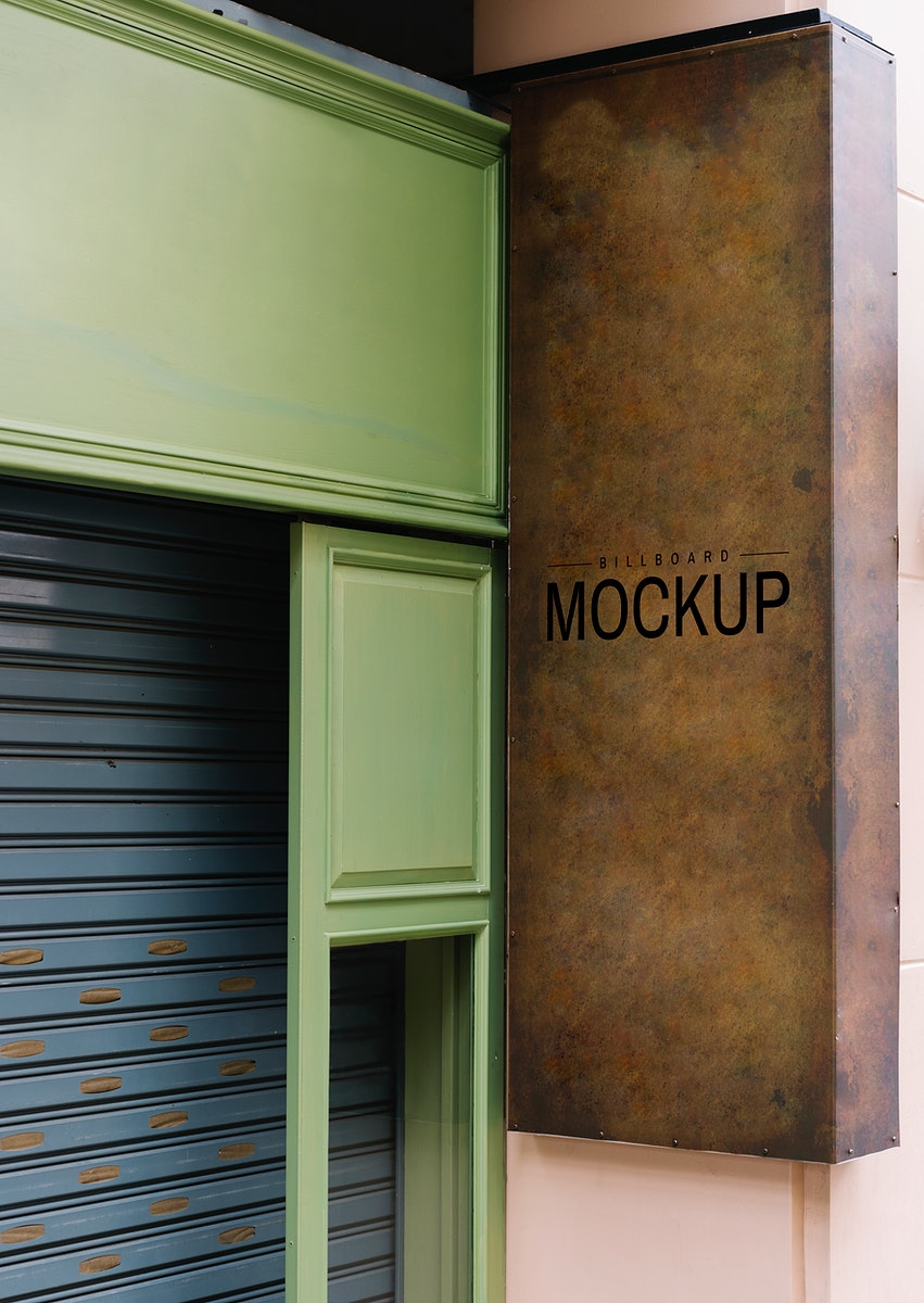 Shopfront with a brown signboard mockup