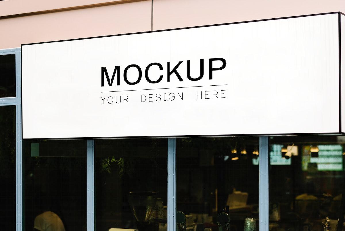 Blank rectangle shop sign mockup
