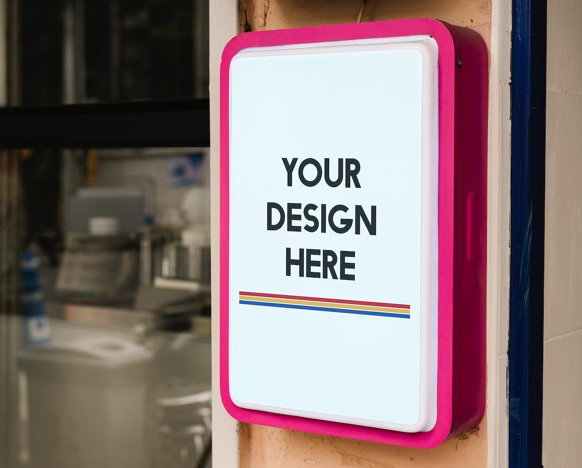 Modern shop sign mockup with bold pink frame