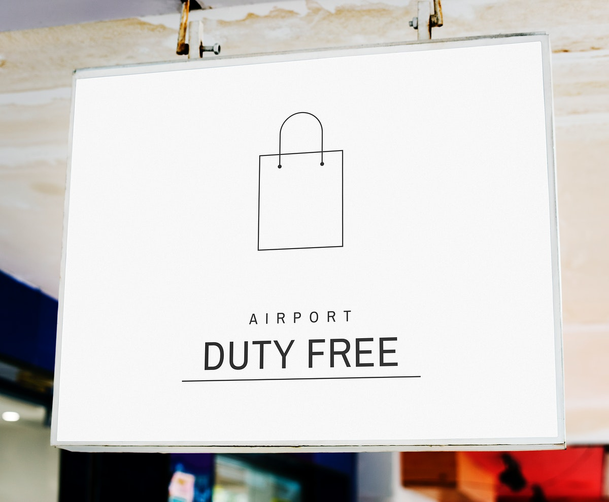Closeup of a white hanging signboard mockup