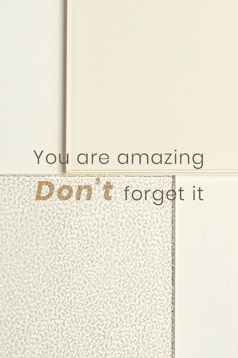 Motivational quote template psd with patterned glass background you are amazing don't forget it