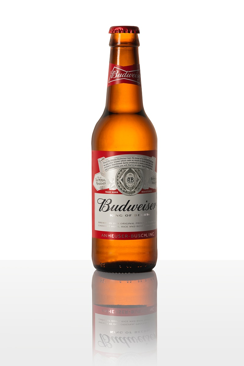 Budweiser king of beers in a glass bottle. JANUARY 29, 2020 - BANGKOK, THAILAND