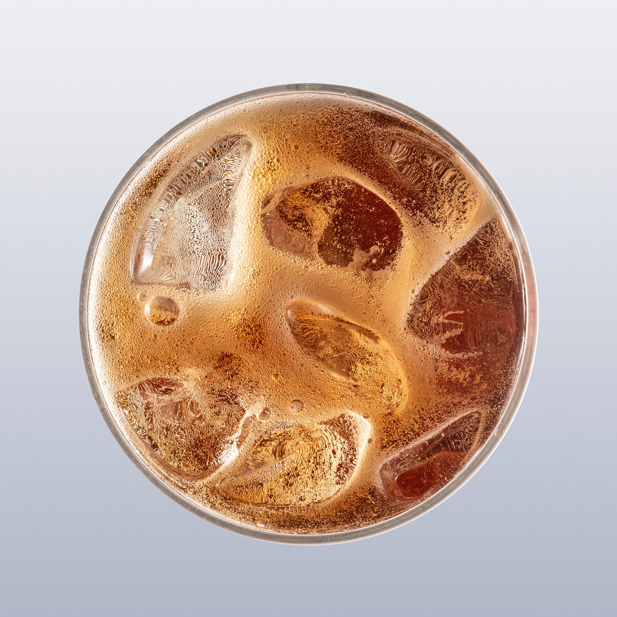 Aerial view of fizzy drink in a glass