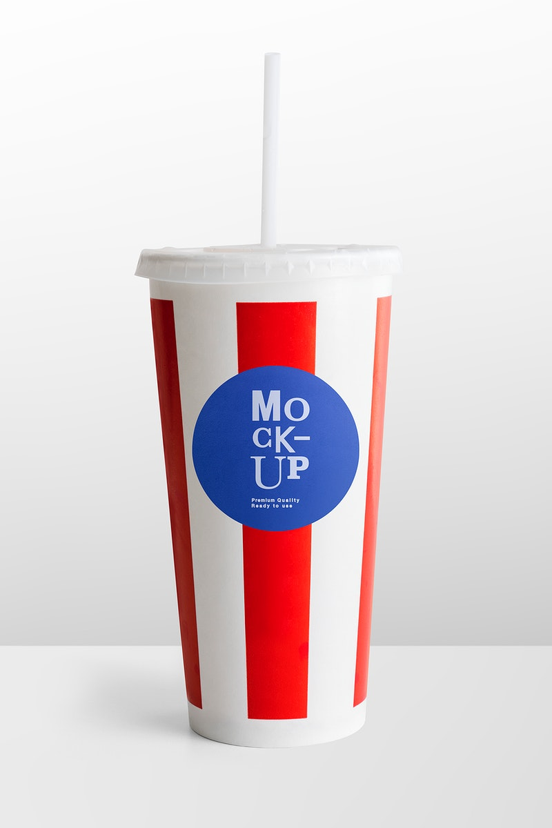 Red and white striped disposable soft drink cup design space mockup