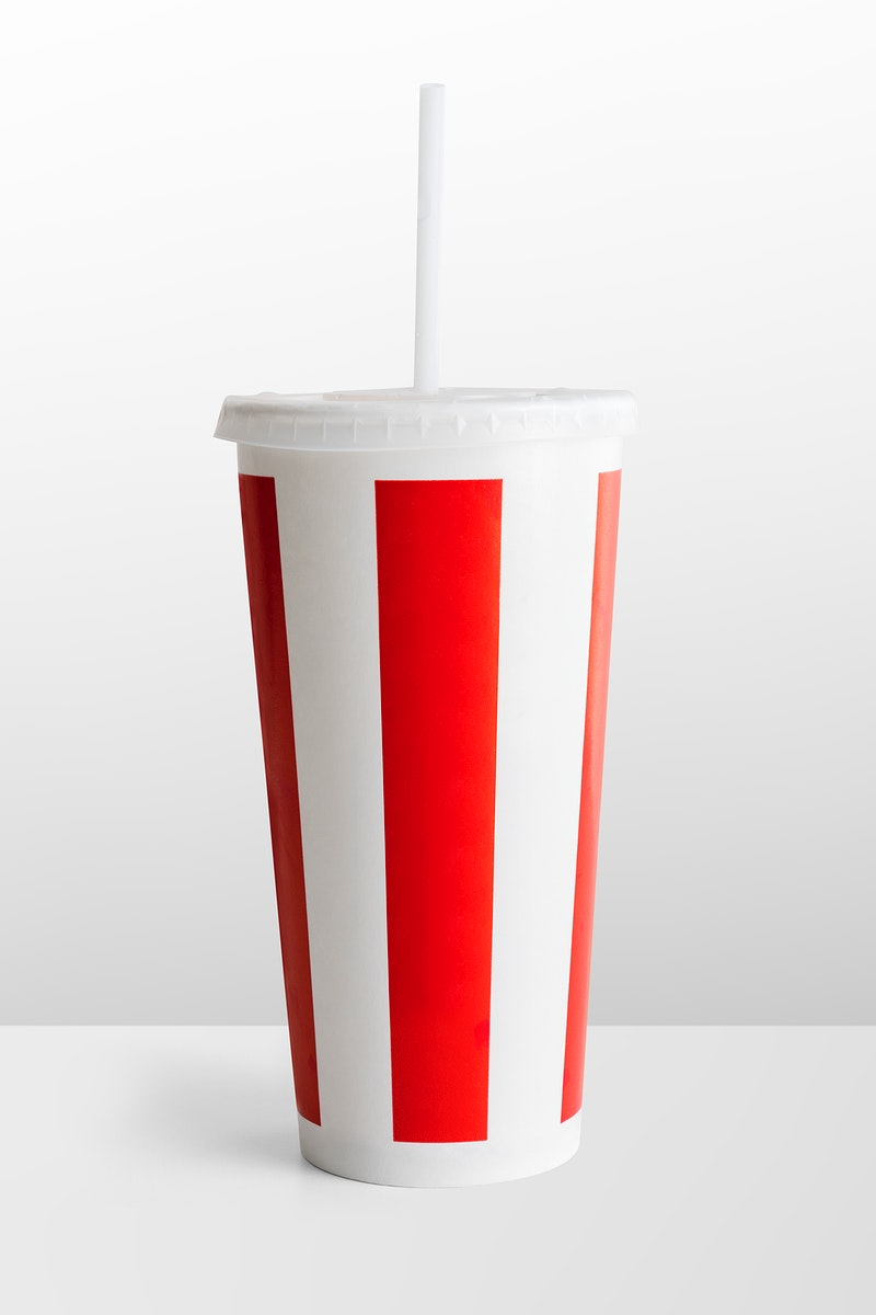Red and white striped disposable soft drink cup