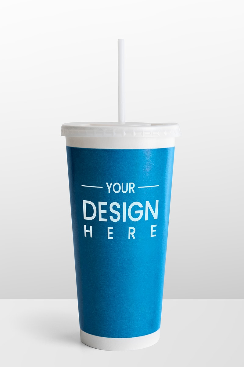 Blue disposable soft drink cup design space mockup