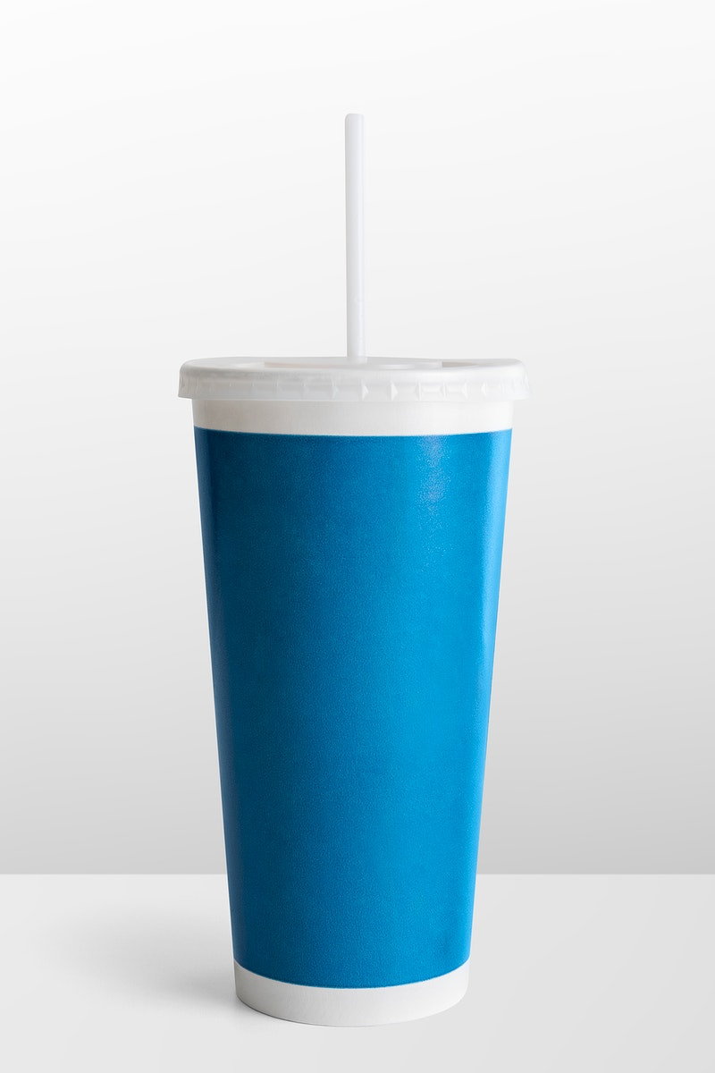 Blue disposable soft drink cup