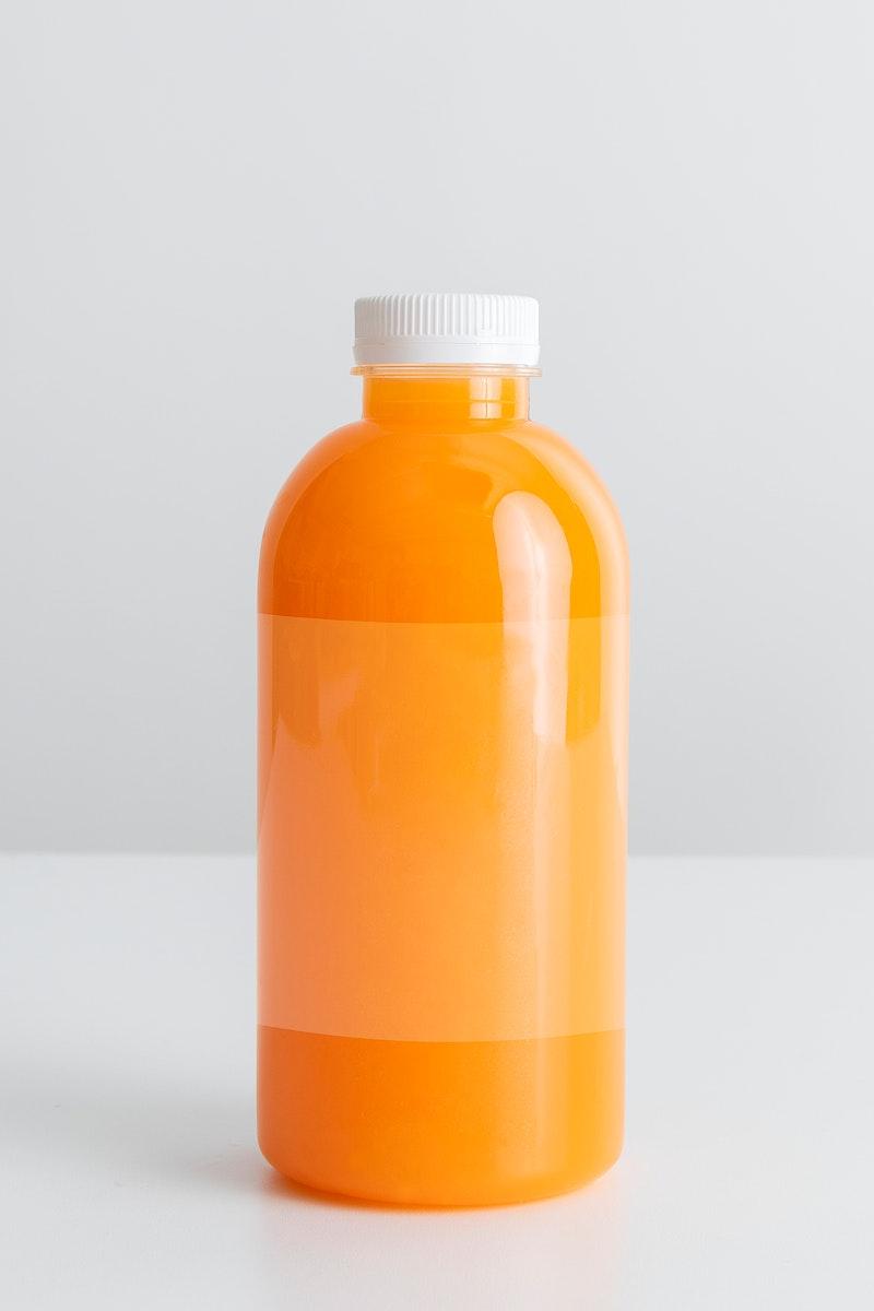 Fresh organic orange juice in bottle