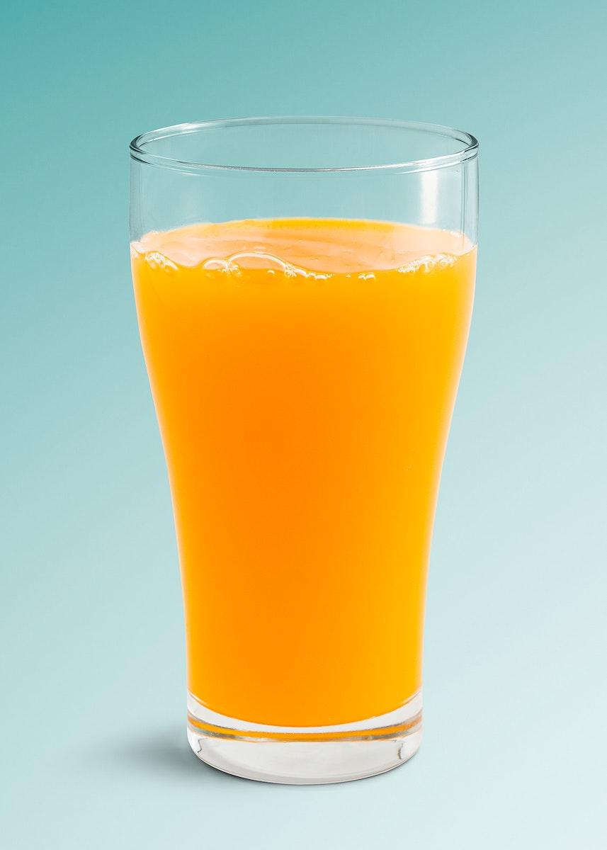 A glass of fresh organic orange juice mockup