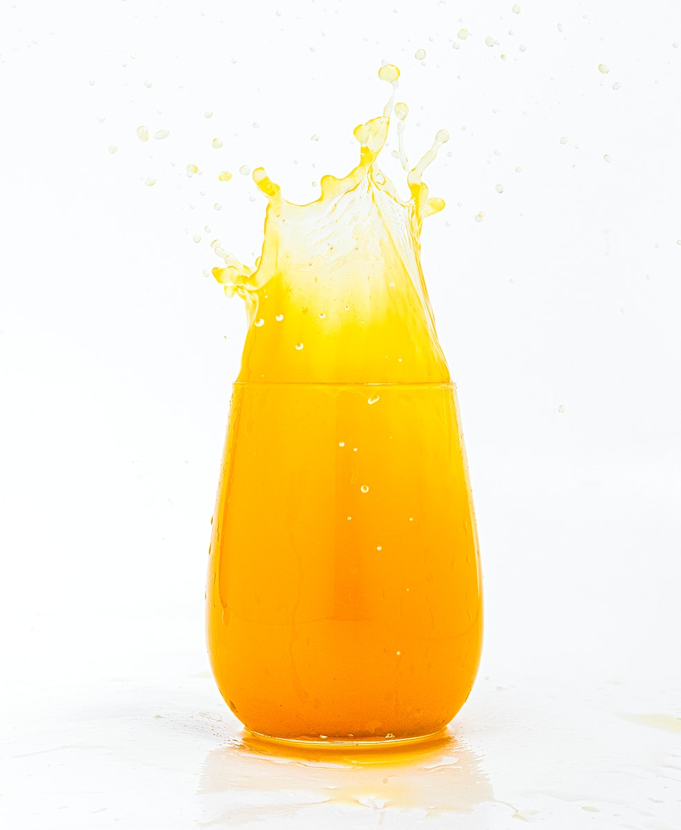 Spilling out of fresh orange juice