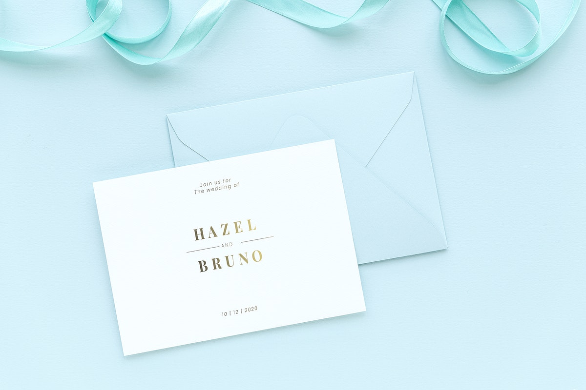 Wedding card template mockup on a blue background
