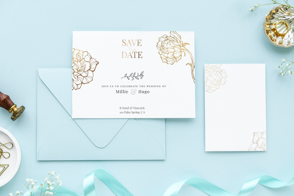 Wedding cards template mockup on a blue background