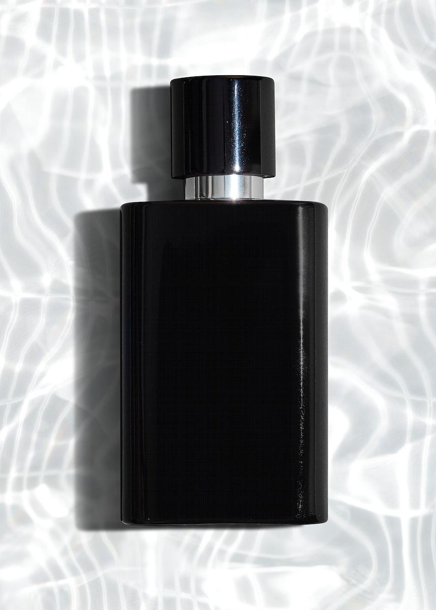 Black perfume glass bottle mockup design