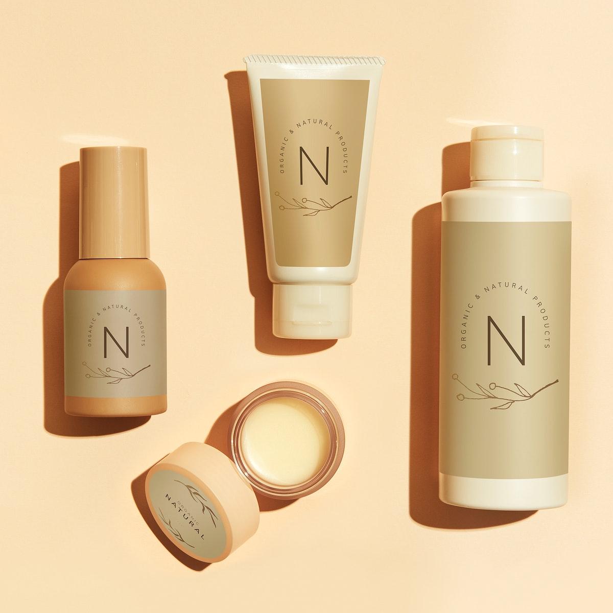 Beauty products mockup design set