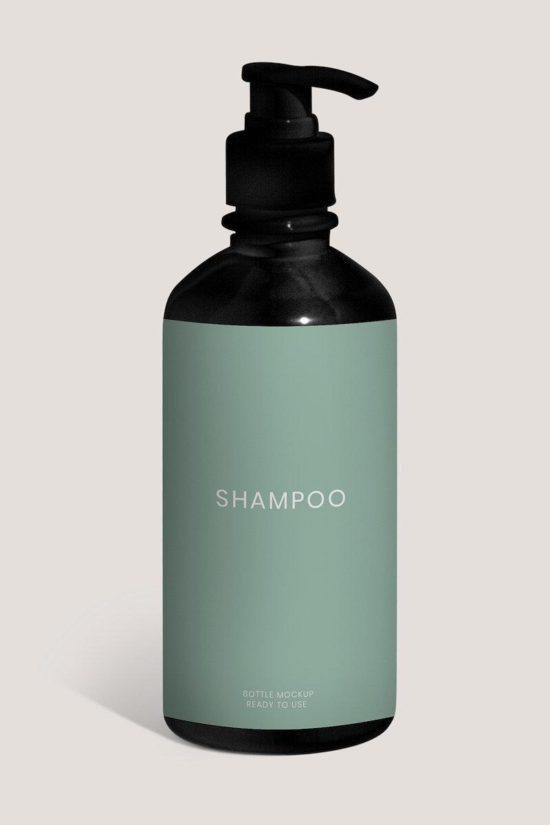 Black shampoo bottle mockup design