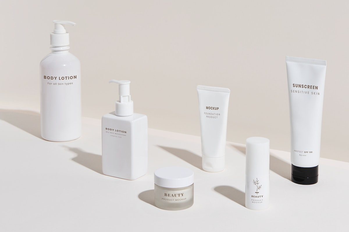 White beauty products packaging mockup design set