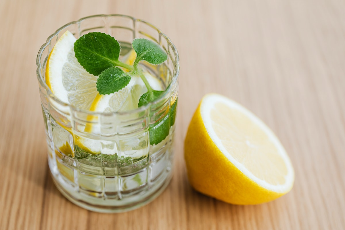Refreshing lemonade drink with mint leaves