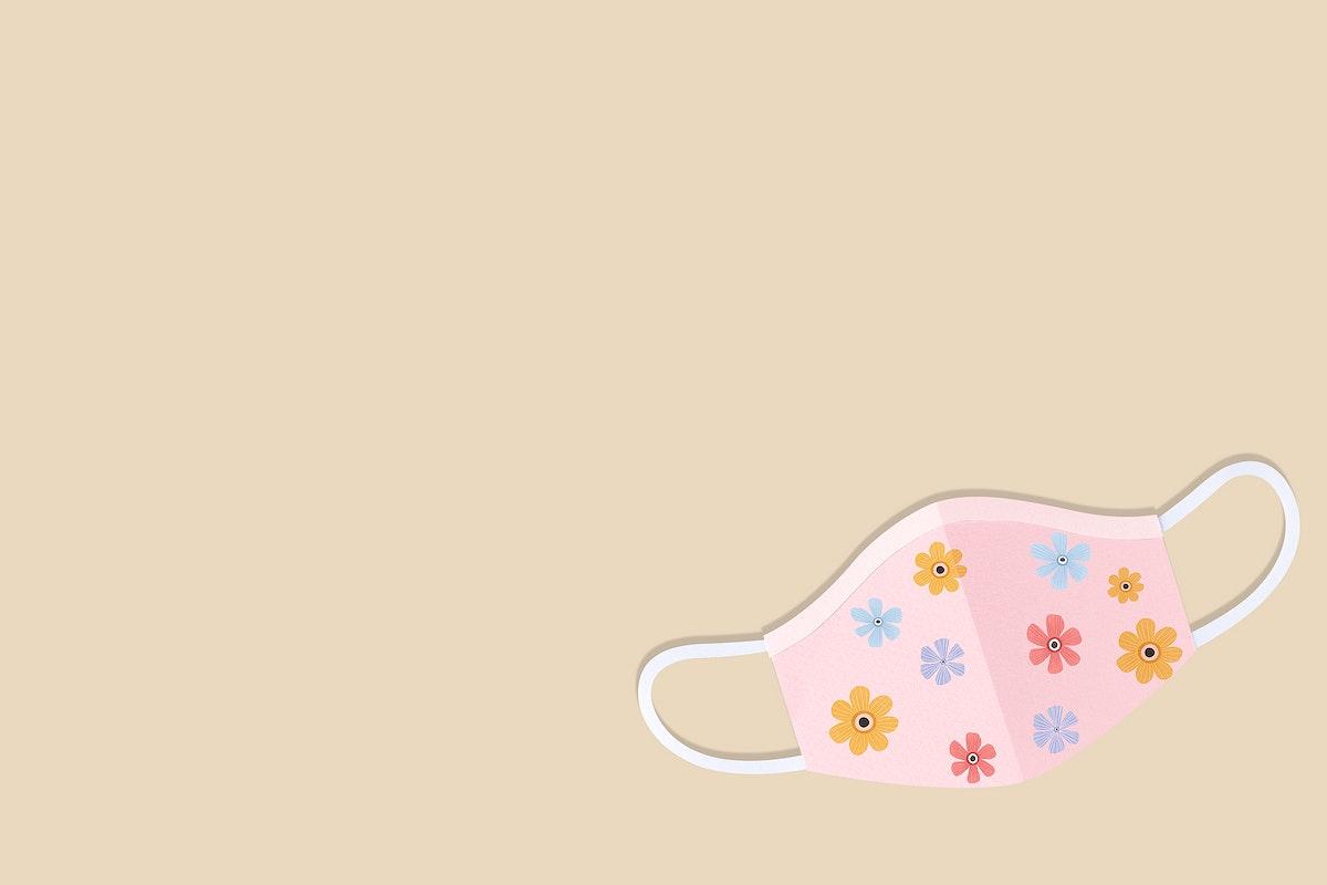 Floral paper craft surgical mask on a beige background illustration