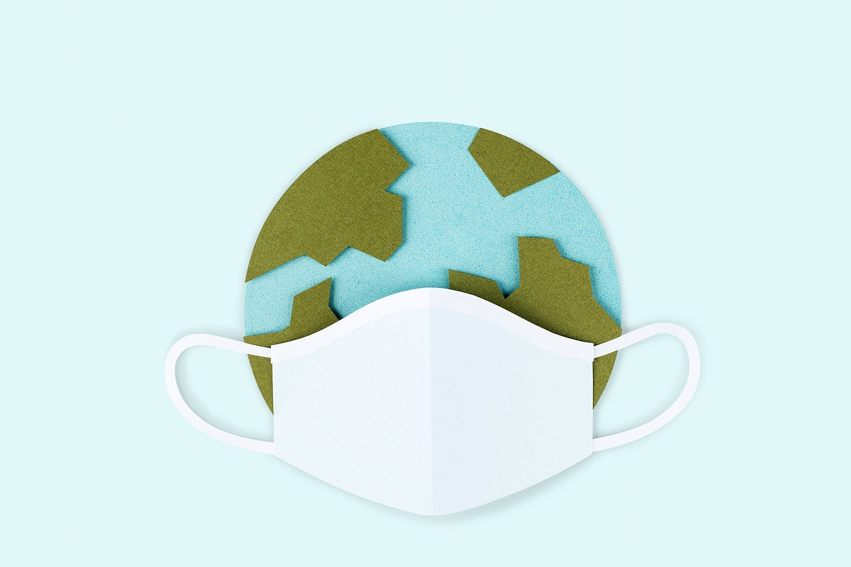 Paper craft planet earth wearing a face mask due to COVID-19 mockup