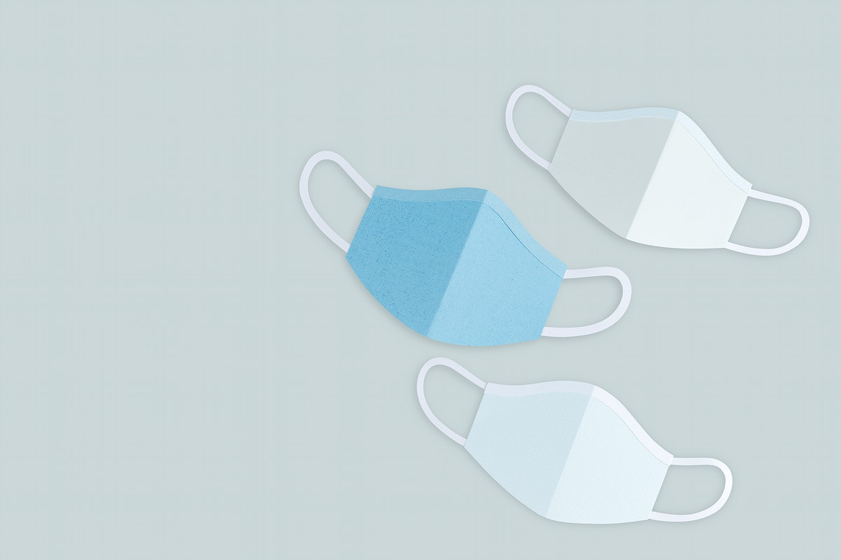 Paper craft surgical masks on a gray background mockup