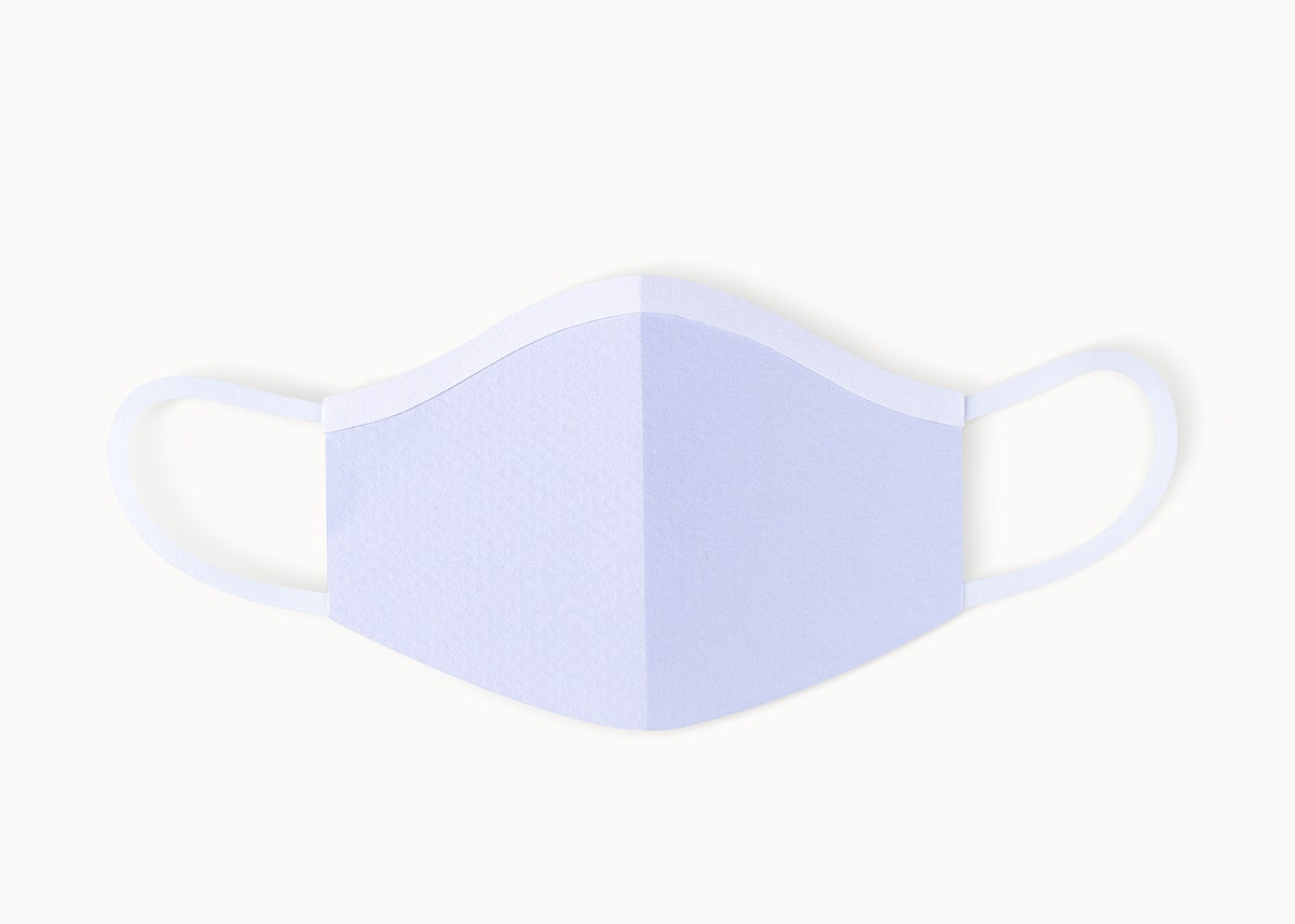 Paper craft surgical face mask on a white background mockup