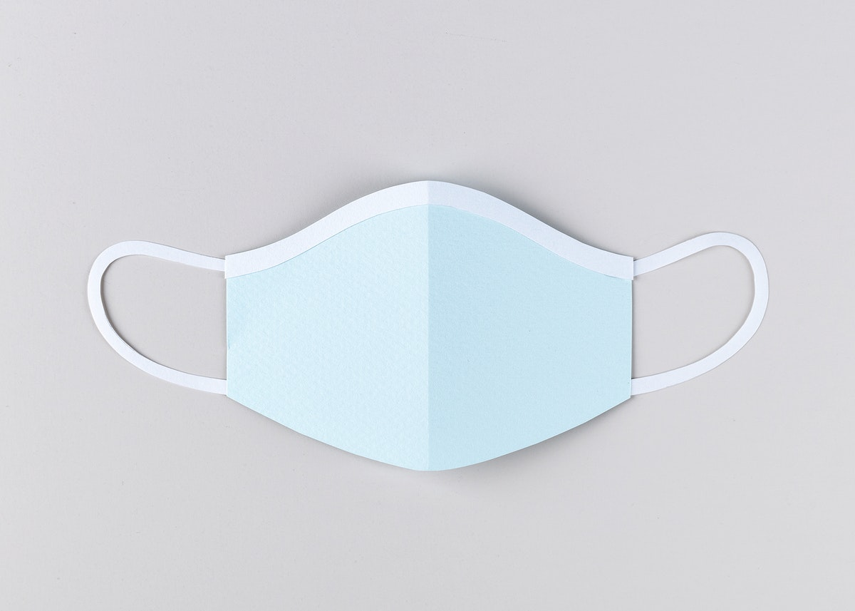 Paper craft surgical mask on a gray background illustration