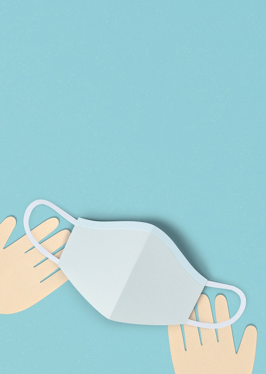 Hands with a face mask on a blue background social banner illustration