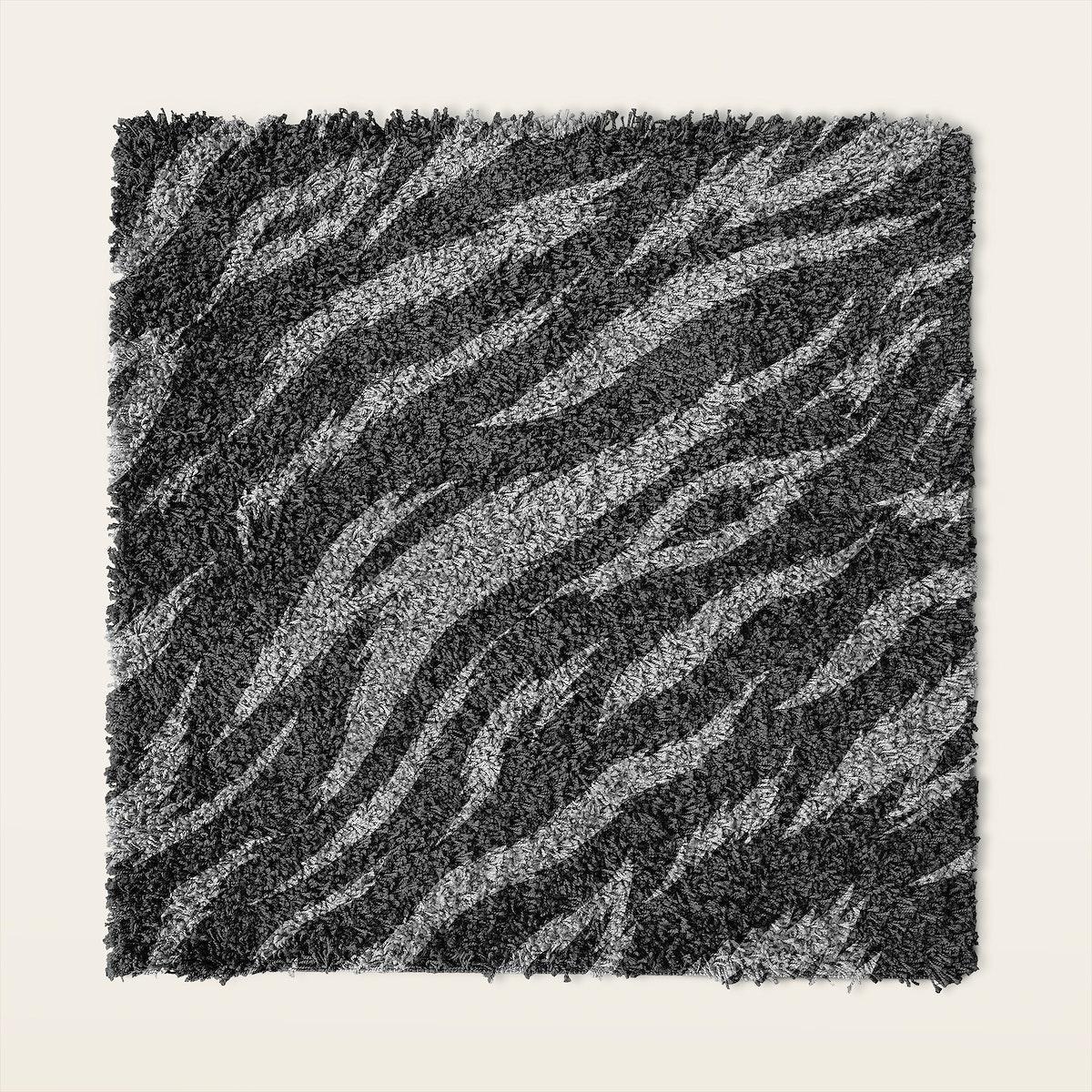 Gray fluffy square shape pattern doormat