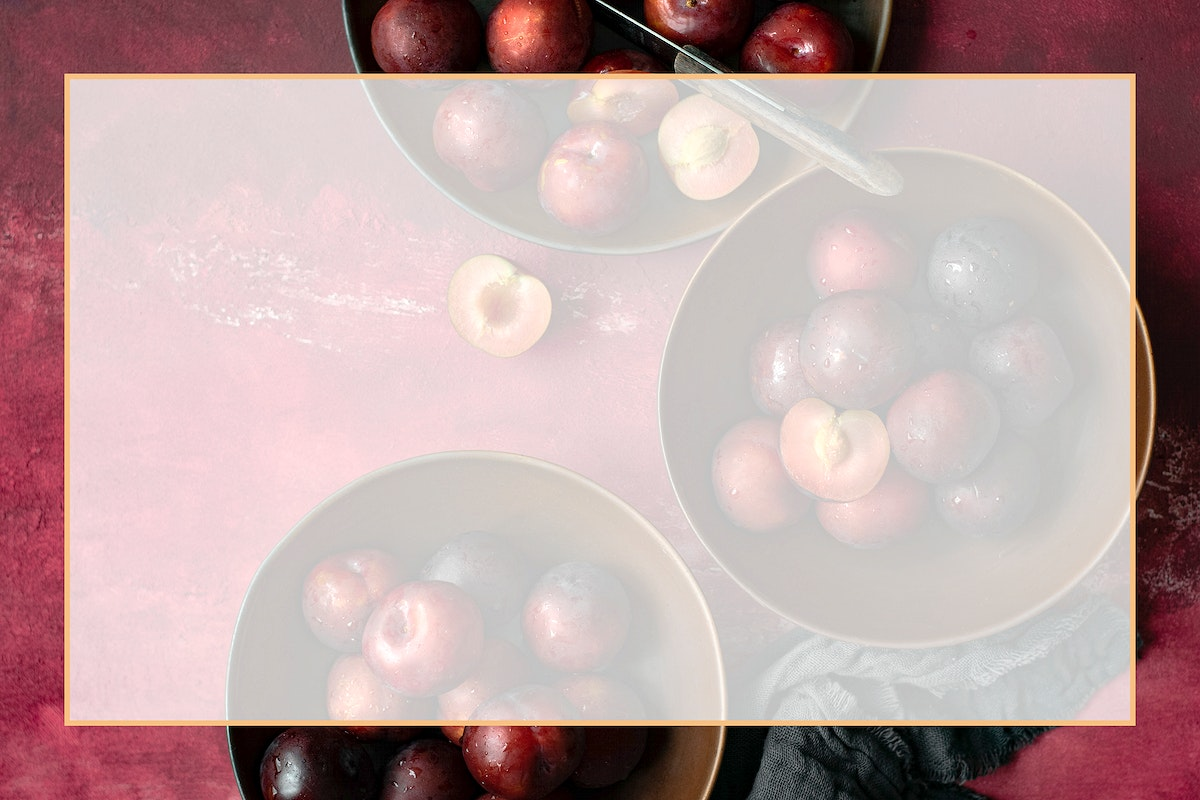 Top view red plum psd frame