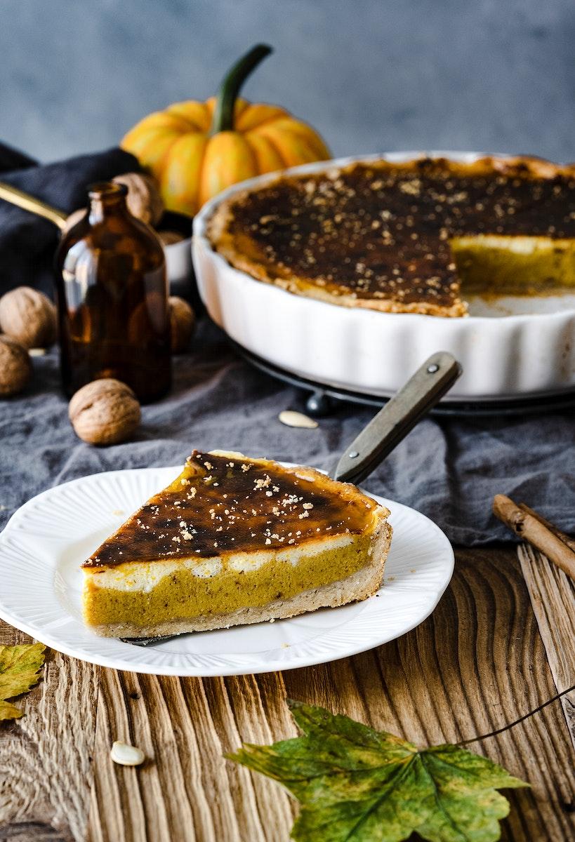 Freshly baked pumpkin pie yummy halloween dessert