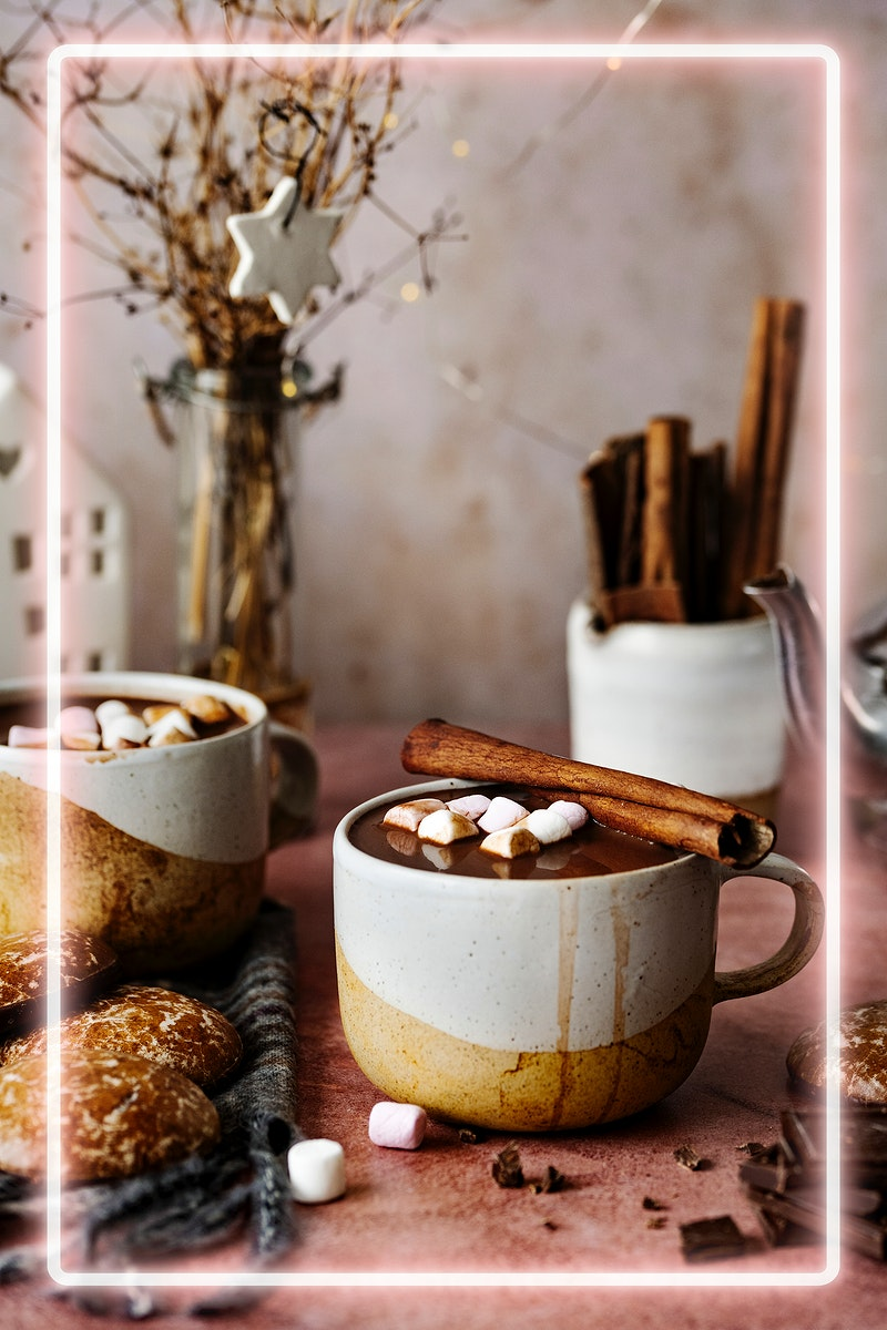 Neon frame psd with marshmallows dipped in hot chocolate Christmas food photography