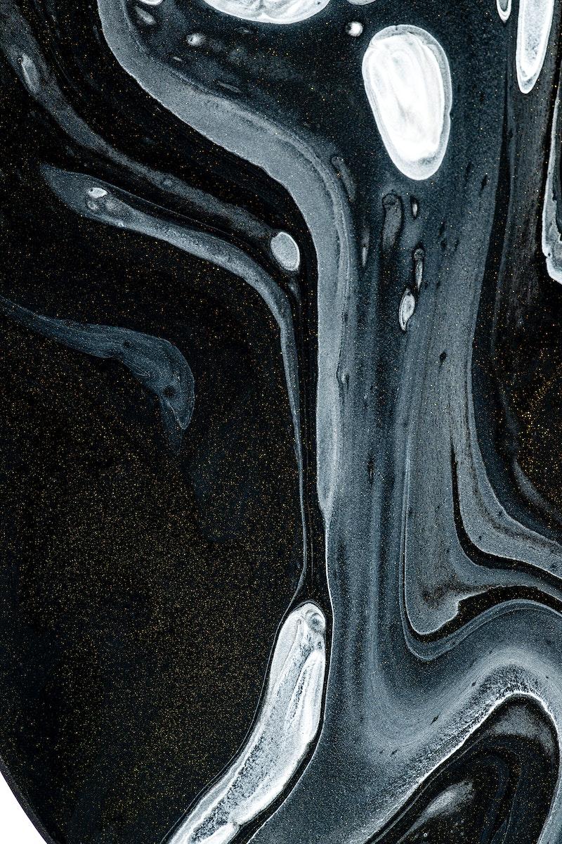Black fluid art swirl acrylic paint